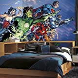 RoomMates JL1380M Justice League XL Chair Rail Prepasted Mural 6' x 10.5' - Ultra-strippable