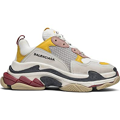 b506495ff8 Balenciaga Men's & Women's Triple S Trainer 'White Yellow' Unisex Fashion  Sneakers (35