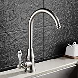 Brushed 360 Degree Rotatable Ceramic Single Handle Kitchen Faucet Water Inlet Hoses Availble for North America