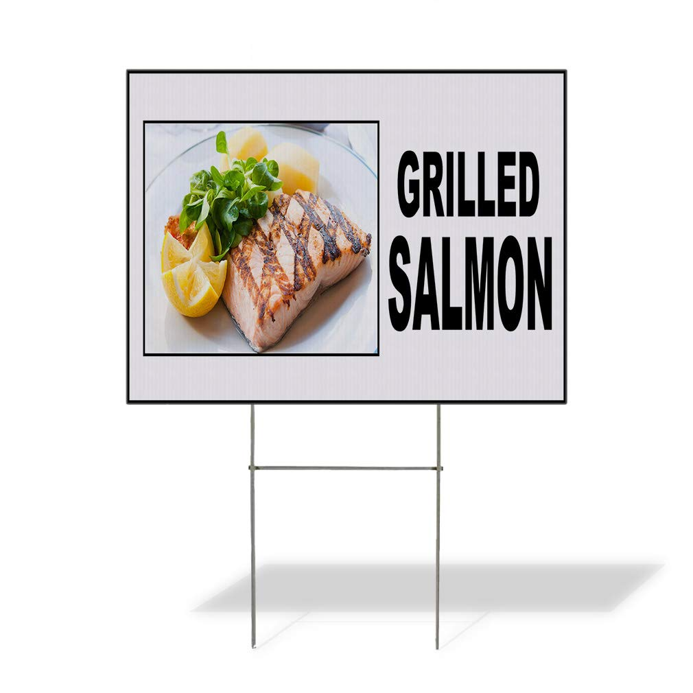Plastic Weatherproof Yard Sign Grilled Salmon Food Fair Restaurant Cafe Market Salmon Restaurants Brown Grilled Salmon for Sale Sign Multiple Quantities Available 24INx18IN Two Sides Print Set of 3 by Sign Destination