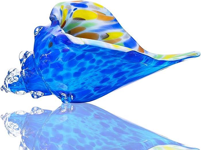 Blue Glass Conch, Hand Blown Seashell Art Glass Figurine, Beautiful Home Decor, Crystal Glass Paperweight
