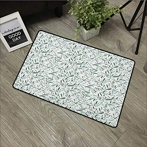 - Clear Printed Pattern Door mat W16 x L24 INCH Garden,Olive Branches with Leaves Classic Simplistic Soft Spring Time Theme, Hunter Green Almond Green Non-Slip Door Mat Carpet