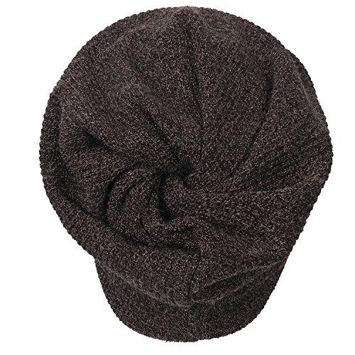 Ribbed Knit Beanie ililily Skull Cap Snood Hat marrón Neck dZqwvxwT