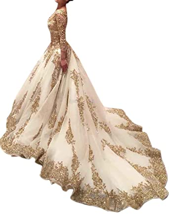 Luxurious Wedding Dress Bride 2018 Long Sleeves Lace Mermaid Formal Bridal Gown Gold Size 2