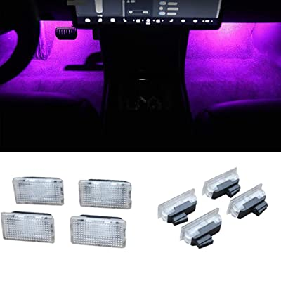 Car Interior LED Car Door Light Upgrade Lighting Replacement Compatible Kit Glitter Lamp for Model 3 X S(4 pcs) (Purple): Automotive