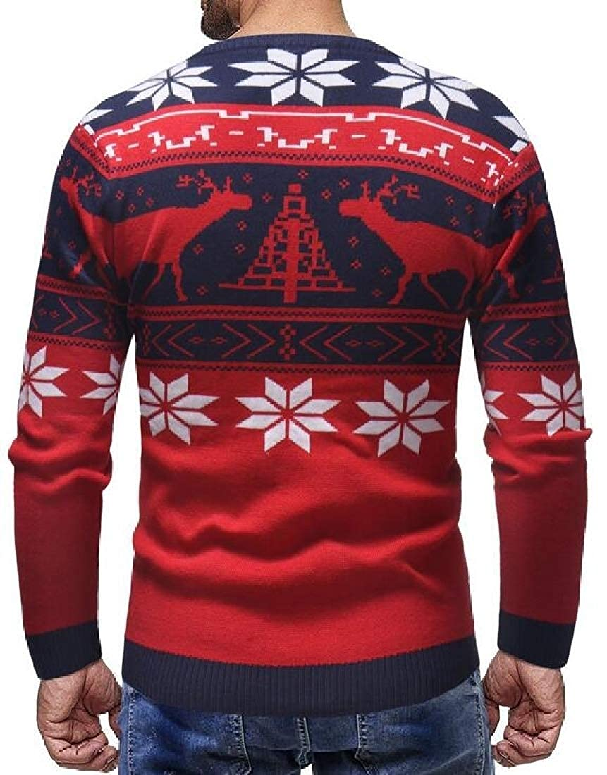 WSPLYSPJY Men Pullover Slim Fit Crewneck Christmas Knitted Thick Jumper Sweater