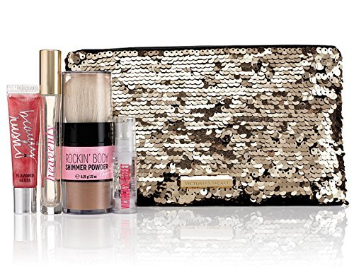 Victoria's Secret Heavenly Bling Sequins Bag Gift Set Eau De Parfume Rollerball Lip Gloss Hair Serum and Body Shimmer