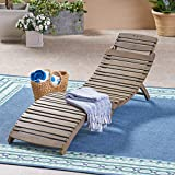 Great Deal Furniture Tycie Outdoor Acacia Wood Foldable Chaise Lounge, Gray