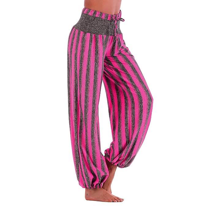 Moginp Hippie Pantalón de Yoga con Estampado de Rayas a la ...