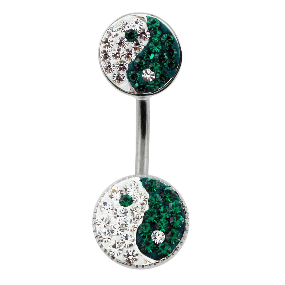 Emerald Green Multi Crystal Stone Double Yin Yang 925 Sterling Silver Double Side Belly Button Ring Jewelry
