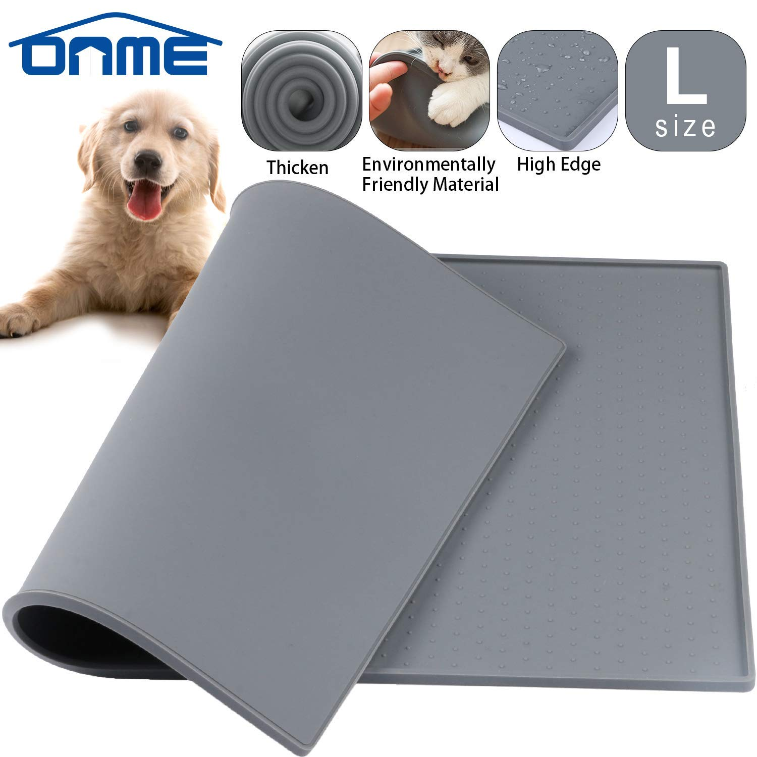 ONME Dog Feeding Mat, FDA Grade Silicone Waterproof Pet Food Mat, Non Slip Dog Bowl Placemat