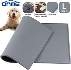 ONME Dog Cat Feeding Mat, Silicone Waterproof Pet Food Mat, Dog Cat Food Mat, Non Slip Dog Cat Bowl Placemat