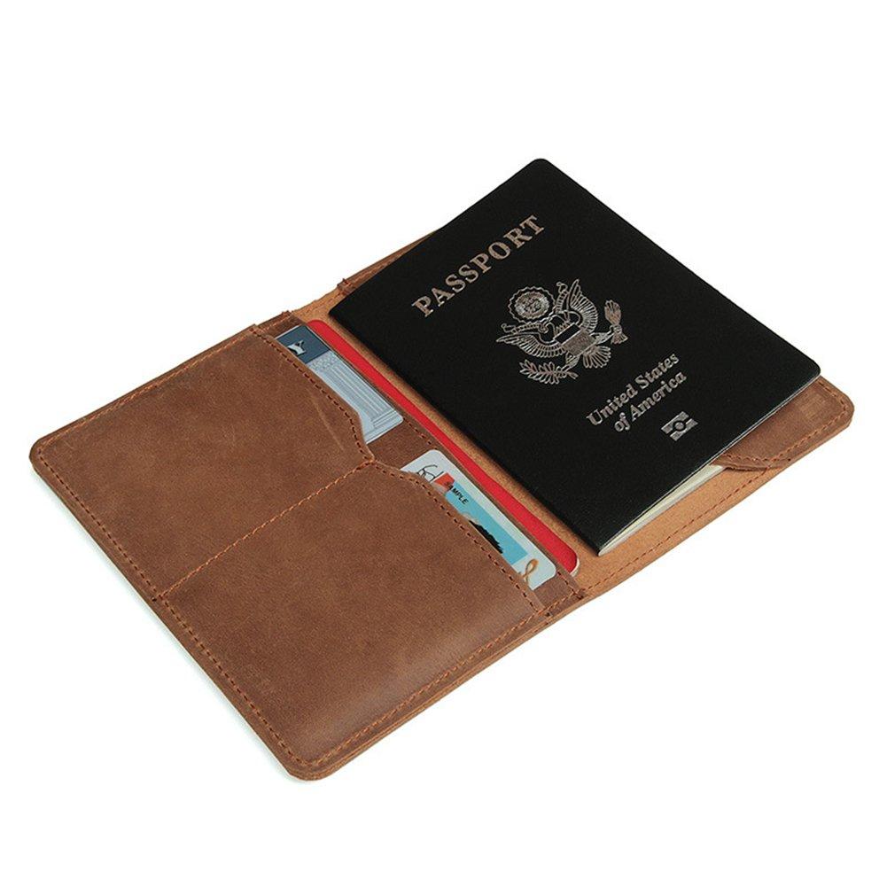 Crazy Horse cuero pasaporte titular mens Travel billeteras retro pasaporte cubierta caso (Brown): Amazon.es: Equipaje