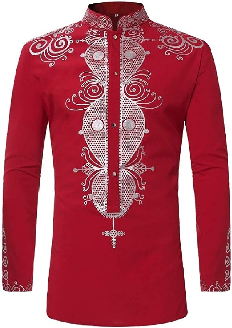 CrazyDayMen Stand Collar African Style Long-Sleeve Mid-Long Painting Tees Shirts