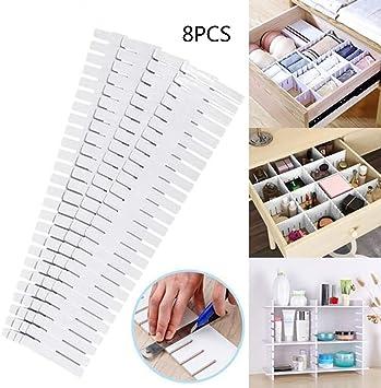 B/ürobedarf Socken G/ürtel KEBY 8 St/ück Kunststoff-Schubladenteiler verstellbar DIY Kunststoff Schranktrenner ordentliche Organizer Container f/ür Unterw/äsche