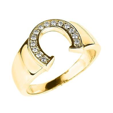 94367838d5065 Men's 14k Yellow Gold Lucky Diamond Horseshoe Ring|Amazon.com