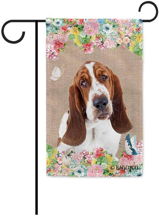 BAGEYOU Hello Spring Flowers with My Love Dog Basset Hound Decorative Outdoor Garden Flag Cute Puppy Summer Floral Seasonal Banner 12.5X18 Inch Print Double Sided