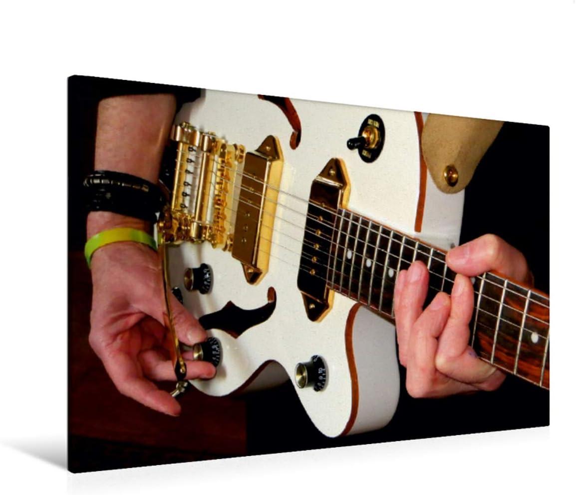 CALVENDO Lienzo Premium de 120 cm x 80 cm Horizontal, Imagen sobre Bastidor, Listo en Lienzo auténtico, impresión en Lienzo: Fascinante grabación de una Guitarra de Jazz (Arte