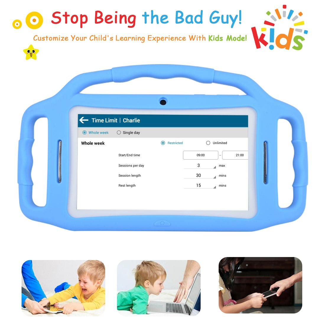 Kids Tablet Android 7 1, 7 Inch, HD Display, Quad Core, Children Tablet,  1GB RAM + 8GB ROM, with WiFi, Dual Camera, Bluetooth, Educational,Touch
