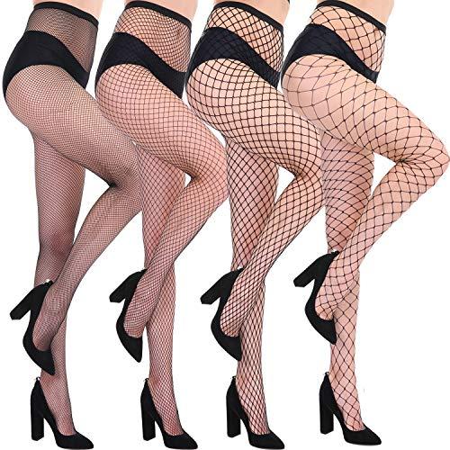 CHRLEISURE Women's Sparkle Rhinestone Fishnets Sexy Tights High Waist Stockings 4 Pack 3