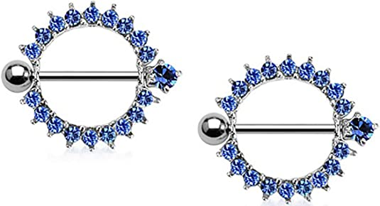 1//2x Body Accentz Nipple Ring Bars  Rhinestone Heart Circle of Love Jha