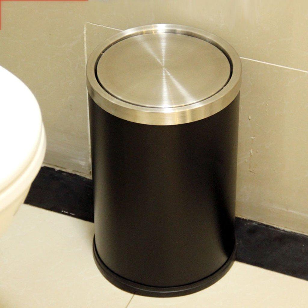 ごみ箱ステンレススチールカバー家庭用キッチン室内用ダストビルトイレベッドルームゴミ箱12L (色 : ブラック) B07DNCX936 ブラック ブラック