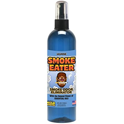 Smoke Eater - Breaks Down Smoke Odor at The Molecular Level - Eliminates Cigarette, Cigar or Pot Smoke On Clothes, in Cars, Boats, Homes, and Office - 4 oz Travel Spray Bottle (Jasmine): Automotive