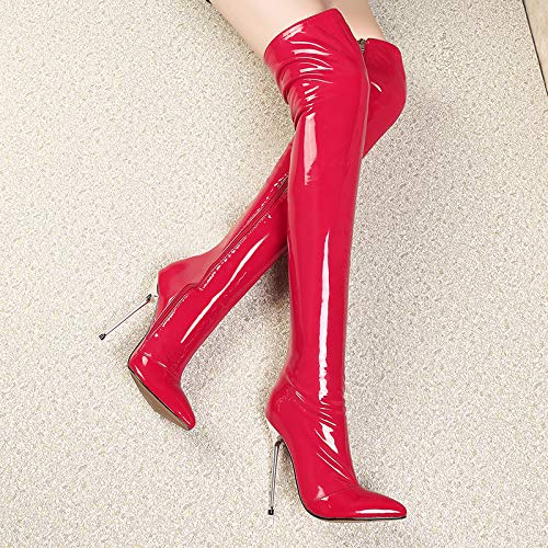 Over Fashion Pointed Black Slip Ladies Women Boots Red Red High Patent The Heels on Leather Knee Stiletto JIEEME Toe OqSx0wCC