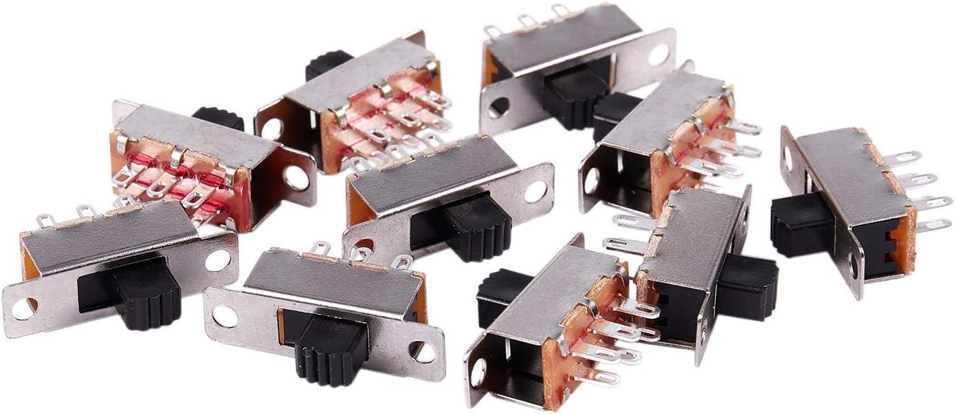 Andifany 10pzs 2 posiciones DPDT 2P2T Interruptor deslizante vertical de montaje en panel 6 pines 50V 0.5A
