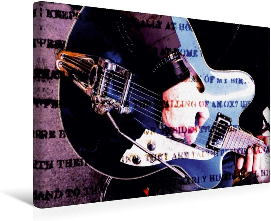 CALVENDO Premium Lienzo 45 cm x 30 cm Horizontal, Jazz Imagen de Pared, Imagen sobre Lienzo, Lienzo: Guitarra semiacústica en Estilo de Grunge (calvento Arte), Arte