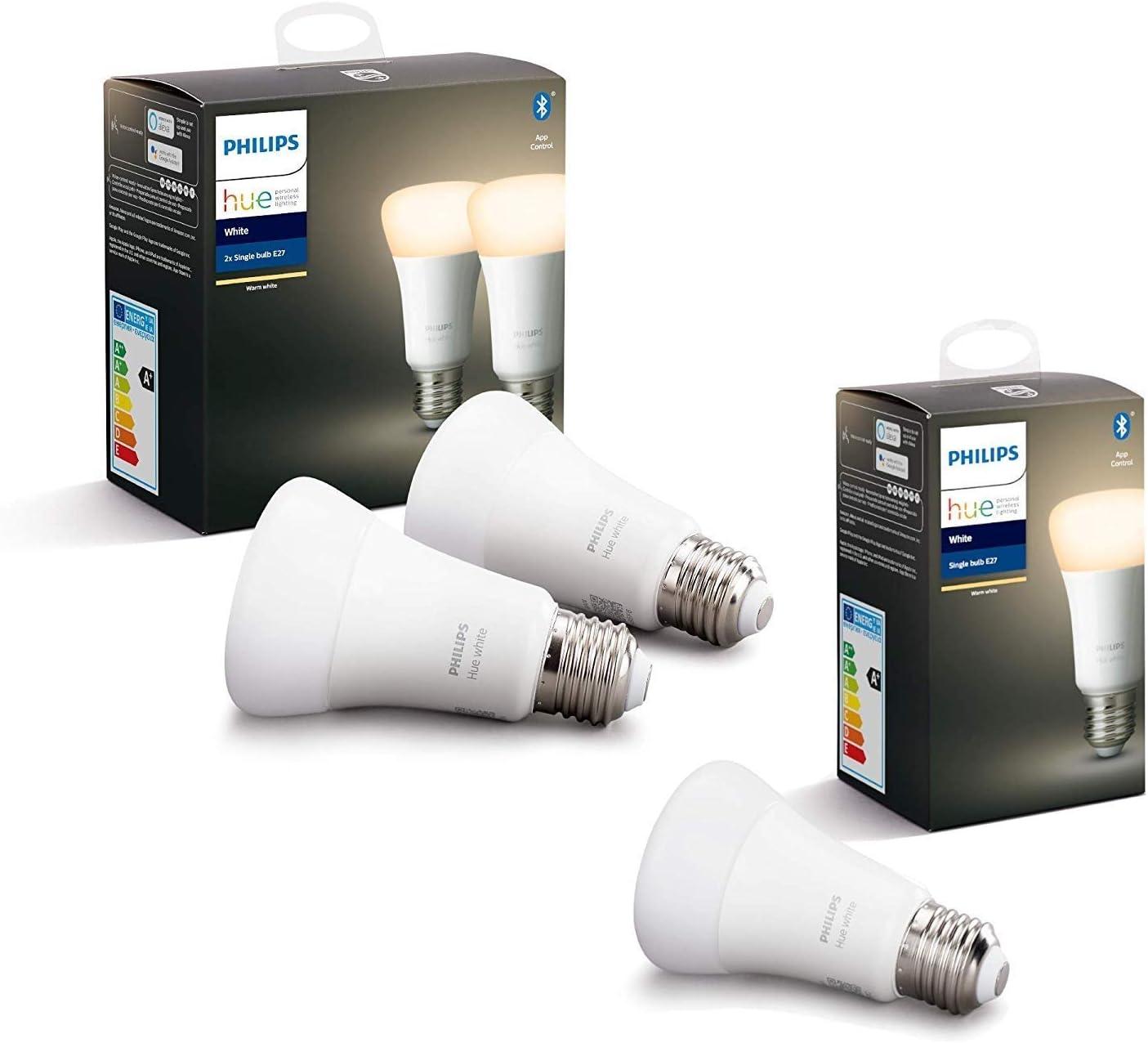 Philips Hue 3 Ampoules LED Connectées White E27 Compatible Bluetooth, Compatible avec...