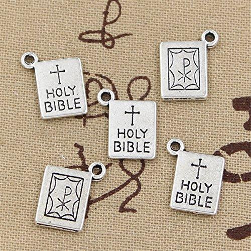 Holy Bible Charm - 20pcs Charms Book holy Bible 17x14mm Antique Making Vintage Tibetan Silver Zinc Alloy Pendant