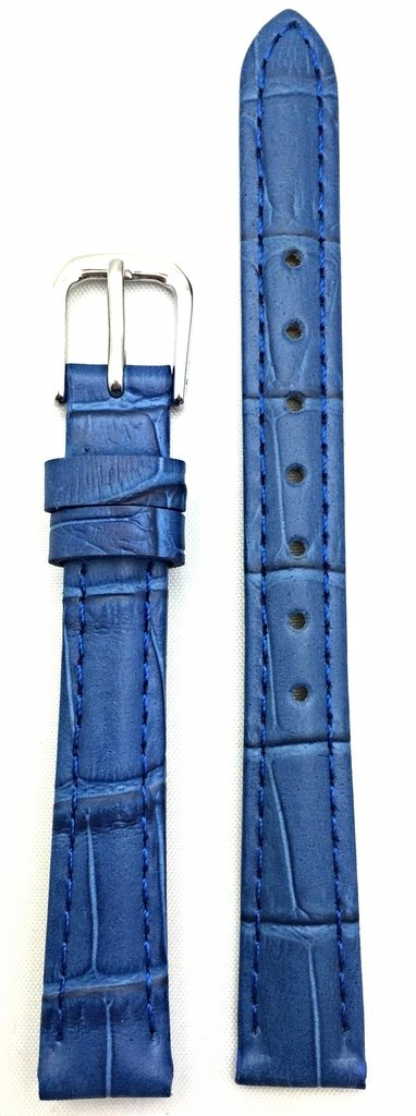 12mm Royal Blue Genuine Leather Watch Band | Alligator Crocodile Grained, Lightly Padded Replacement Wrist Strap That Brings New Life to Any Watch (Womens Standard Length)