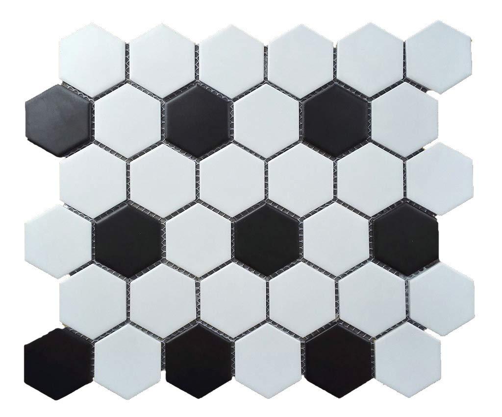 1 Carton/10 SQFT | Black & White 2'' Hexagon Mosaic Tile (Matte)