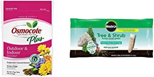 Osmocote 274850 Smart-Release Plant Food Plus Outdoor & Indoor, 8 lbs & Miracle-GRO Tree & Shrub Plant Food Spikes, 12 Spikes/Pack