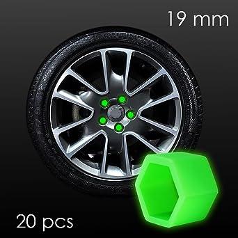 Cache perno tuerca 19 mm fosforescente para rueda de coche