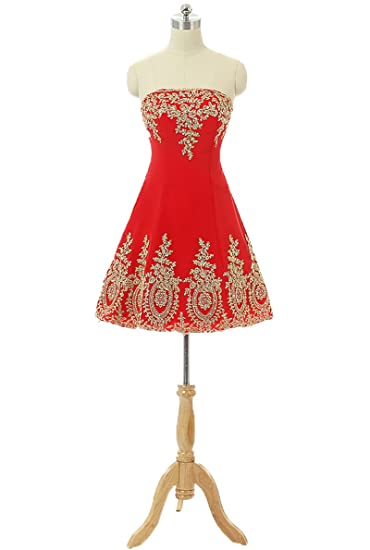 WDH Dress Cute Gold Appliques Short Red Prom Dress Backless Homecoming Dress 6
