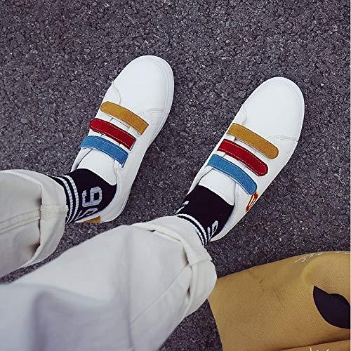 cómodos Mujer Sneakers Canvas Toe Fall Rojo Heel Red Round ZHZNVX de Amarillo Flat Zapatos fnqYA55S