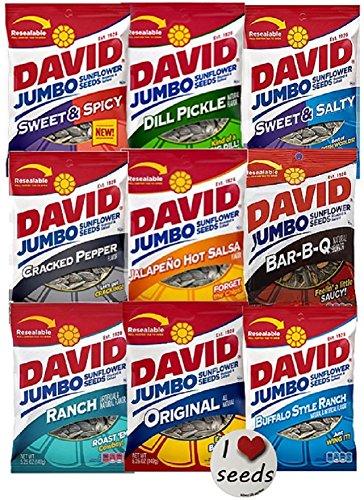David Sunflower Seeds 9 Pack Variety (5.25 Ounce each) Includes Bonus Magnet