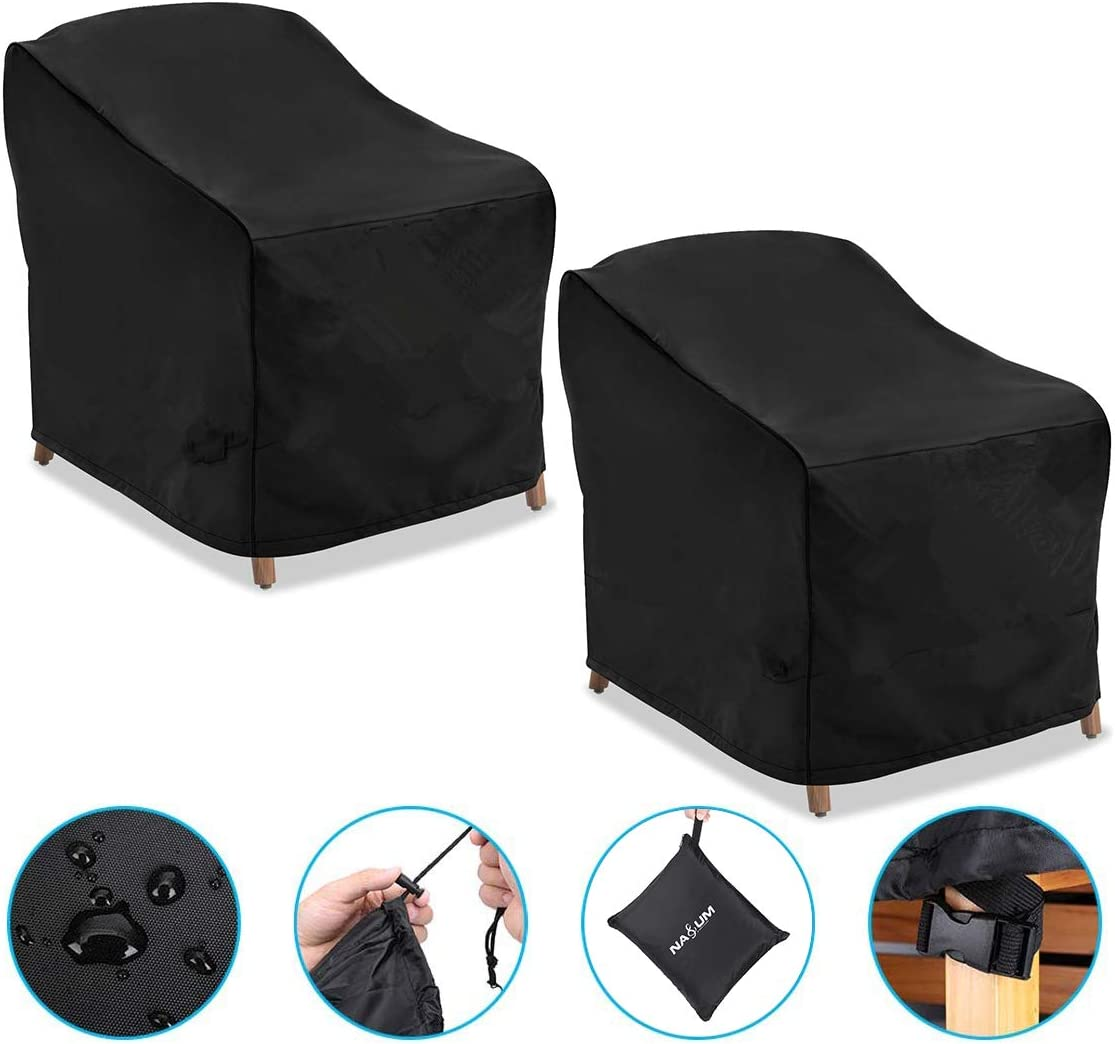 NASUM Patio Chair Covers, 2 Pack Lounge Deep Seat Cover, 38''Lx31''Dx29''H, 600D Waterproof and Heavy Duty Outdoor Furniture Covers