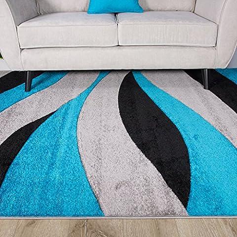 Teal Blue Colour Curvy Wave Pattern Design Living Room Floor Rug 2'7