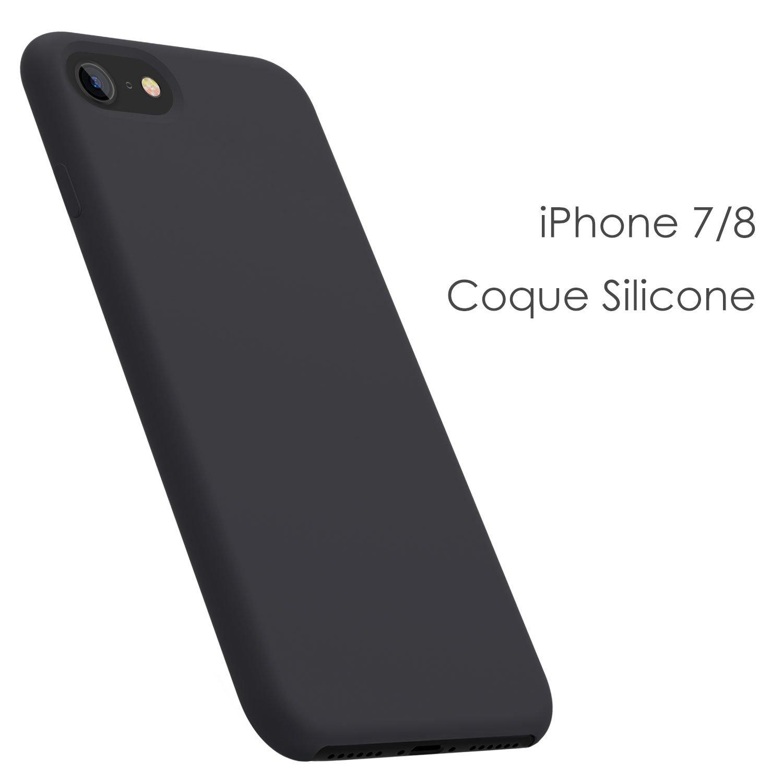 Coque iPhone 7 / 8 , JASBON Coque Silicone Liquide Anti-rayure avec Protecteur d\'écran Gratuit, Housse Protection Silicone Anti-patinage Gel Case de Style Classique pour iPhone 7 / 8 - Noir