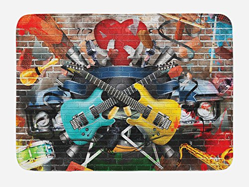 (Ambesonne Music Bath Mat, Collage of Music Color and Musical Instruments Street Wall Art Joyful Nostalgia Print, Plush Bathroom Decor Mat with Non Slip Backing, 29.5 W X 17.5 L Inches, Yellow Teal)