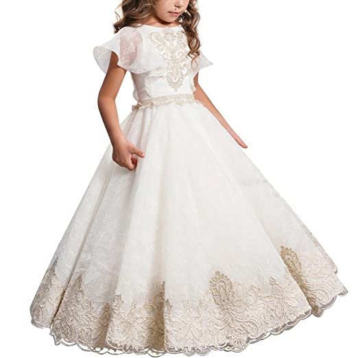 c1b1309eb1c6b Girls Flower Lace Princess Communion Tulle Dress Long Pageant Gown Floor  Length Prom Wedding Evening Formal Party