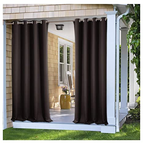 PONY DANCE Outdoor Curtains For Patio   Light Block Drapes Privacy Protect  All Season Waterproof Shades