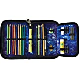 Kids Galaxy Pencil Case by Fenrici for Girls, Boys, Teens, Super Organizer, Zip Pencil Pouch, 30+ Holders for Pencils, Sharpeners, Glue Sticks, and Erasers (Purple)
