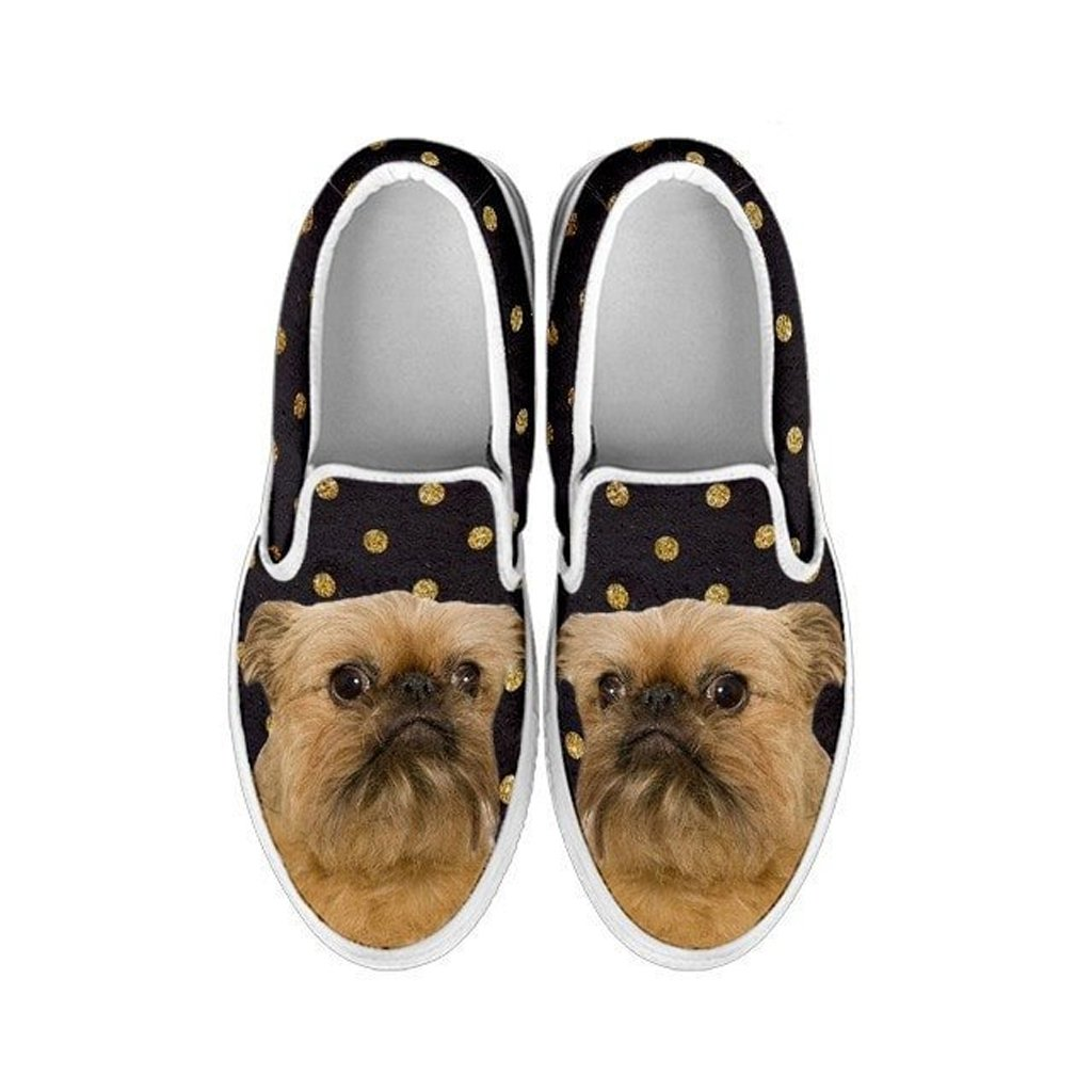 petkanvas Cute Brussels Griffon Print Slip Ons Shoes for Women Griffon Bruxellois