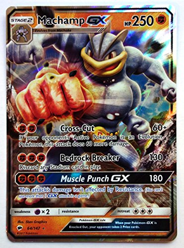 Pokemon, S&M, Burning Shadows, Machamp GX 64/147, Ultra Rare, New, Mint