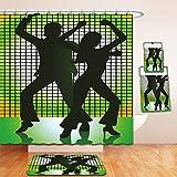 Nalahome Bath Suit: Showercurtain Bathrug Bathtowel Handtowel 70s Party Decorations Silhouette Illustration of Couple Dancing in Disco Light Green Dark Green Yellow