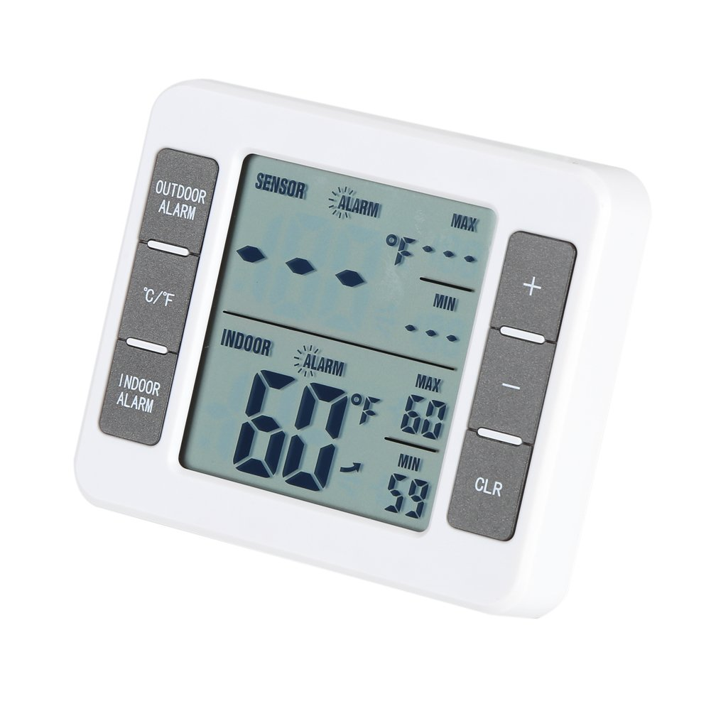 Digital Wireless Indoor/Outdoor LCD Digital Fridge Freezer Thermometer with Large Crystal Display with Audible Alarm Fdit